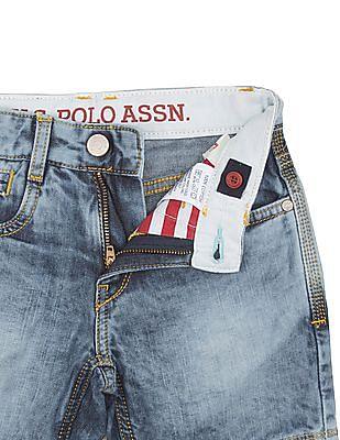 U.S. Polo Assn. Kids Boys Bleached Denim Shorts