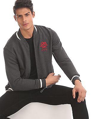 U.S. Polo Assn. Grey High Neck Zip Up Sweatshirt