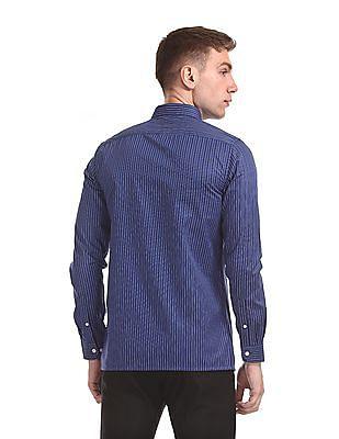 Excalibur Mitered Cuff Vertical Stripe Shirt