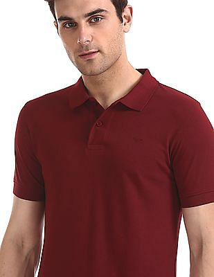 Flying Machine Short Sleeve Solid Polo Shirt