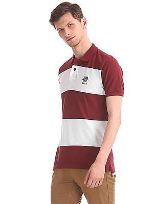 U.S. Polo Assn. Maroon And White Ribbed Neck Cotton Polo Shirt
