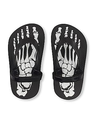 The Children's Place Toddler Boy Skeleton Flip Flops
