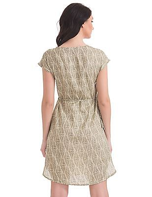 Bronz Tie-Up Waist Printed Dress