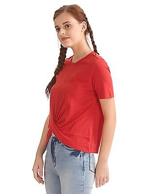 Flying Machine Women Twist Front Crop Top