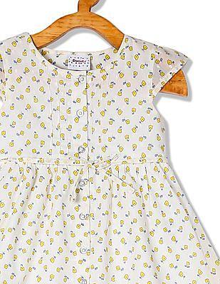 Donuts Girls Cap Sleeve Printed Dress