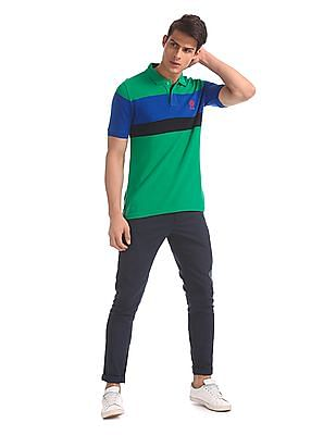 U.S. Polo Assn. Green And Blue Striped Polo Shirt