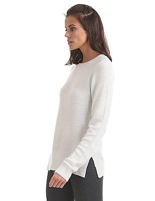 U.S. Polo Assn. Women Side Slit Metallic Knit Sweater