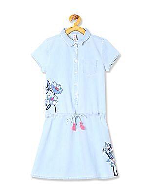 U.S. Polo Assn. Kids Girls Chambray Shirt Dress