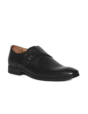 Arrow Black Monk Strap Leather Shoes