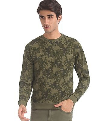 Flying Machine Green Crew Neck Tropical Print Sweatshirt