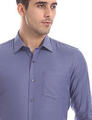 Arrow Blue Slim Fit French Placket Shirt