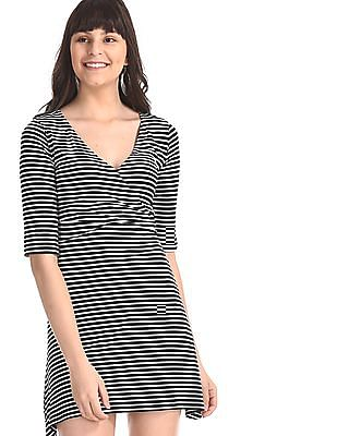 Aeropostale Black Overlapped V-Neck Striped Dress