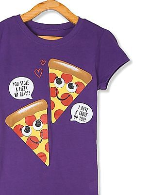 The Children's Place Girls Purple Pizza Print T-Shirt