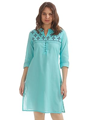 Karigari Embroidered Yoke Cotton Kurta