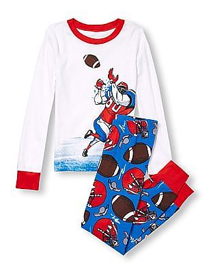 The Children's Place Boys Long Sleeve Football Graphic Top And Football Print Pants PJ Set