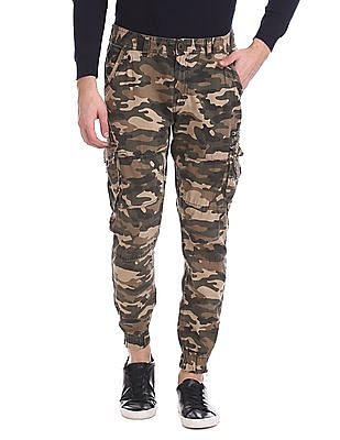 Flying Machine Camo Print Flat Front Cargo Trousers