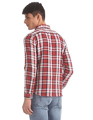 Flying Machine Red And Grey Check Cotton Shirt