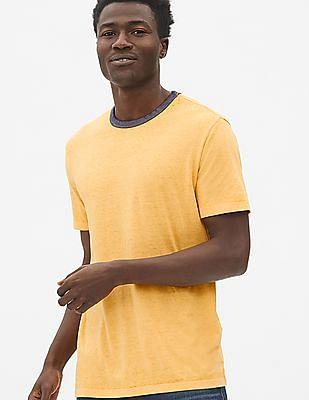 GAP Yellow Burnout Ringer Crewneck T-Shirt
