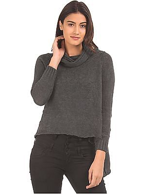 797020d1452 EdHardy Women Cowl Neck High Slit Sweater. SHOP NNNOW