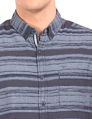 Flying Machine Button Down Collar Striped Shirt