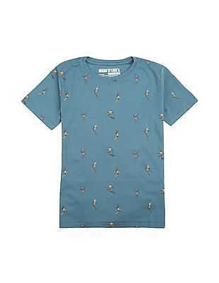 FM Boys Boys Ski Print Slim Fit T-Shirt