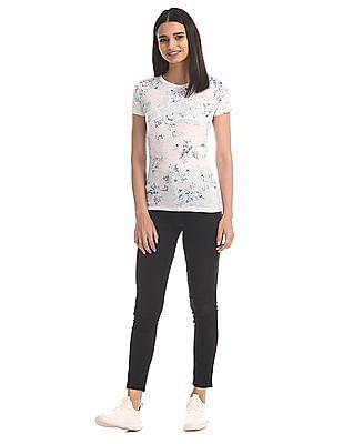 Aeropostale Grey Floral Print Crew Neck T-Shirt