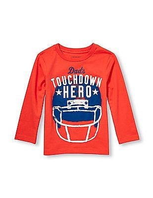 The Children's Place Toddler Boy Long Sleeve 'Dad's Touchdown Hero' Graphic Tee