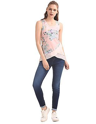 Cherokee Printed Front Layered Top