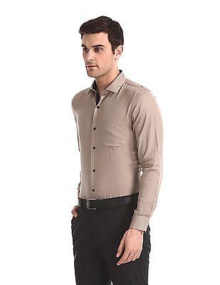 Excalibur Beige Super Slim Fit Patterned Shirt