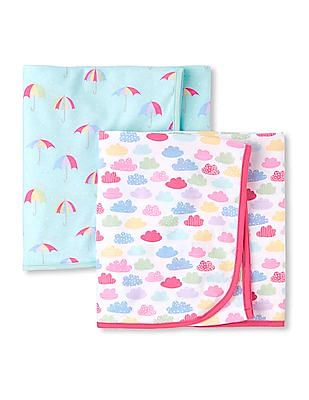 The Children's Place Toddler Boy Printed Swaddle Blanket 2-Pack