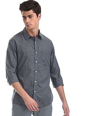 Arrow Sports Grey Striped Slim Fit Shirt