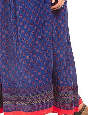 Bronz Block Print Maxi Skirt