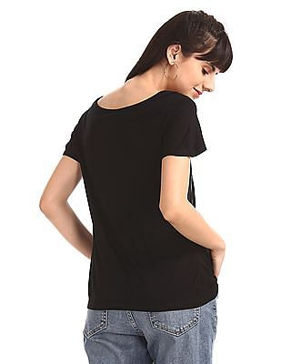 SUGR Black Round Neck Printed Front T-Shirt