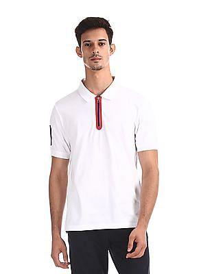 Colt White Zip Up Front Pique Polo Shirt