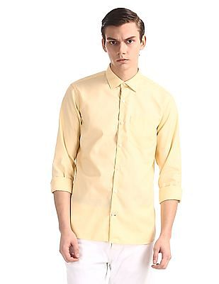 Excalibur Yellow French Placket Patterned Shirt