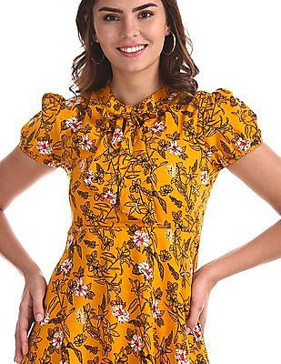 SUGR Yellow Floral Print Fit And Flare Dress