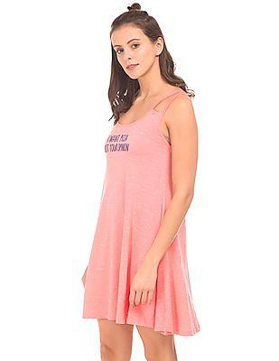 SUGR Slub Knit Printed Swing Dress