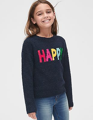 GAP Girls Cozy Graphic Crewneck Sweater