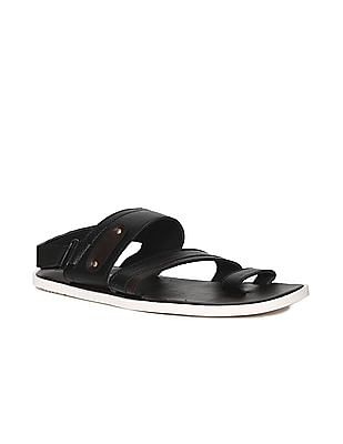Ruggers Brown And Black Ankle Strap Colour Block Sandals