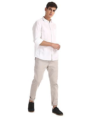Ruggers White Mitered Cuff Solid Shirt