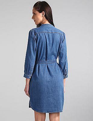 GAP Blue Popover Shirt Dress