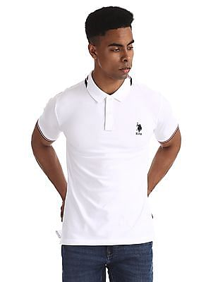 U.S. Polo Assn. White Tipped Solid Polo Shirt