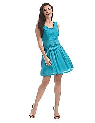 U.S. Polo Assn. Women Solid Fit And Flare Dress