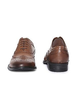 Arrow Wingtip Leather Brogue Shoes