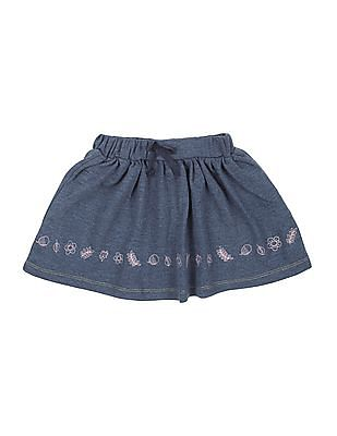 Donuts Girls Embroidered Flared Skirt