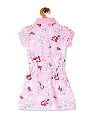 U.S. Polo Assn. Kids Pink Girls Printed Polo Dress