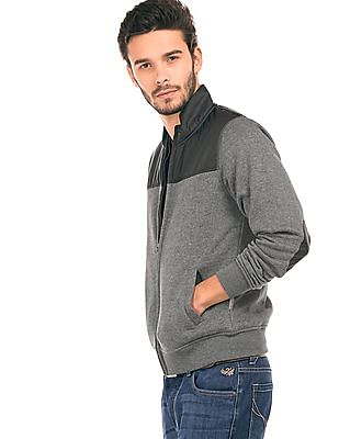 Flying Machine Elbow Patched Panelled Sweatshirt