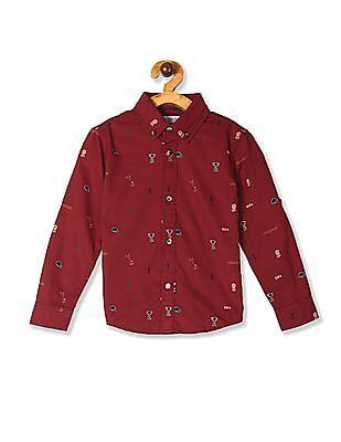 U.S. Polo Assn. Kids Red Boys Printed Button Down Collar Shirt