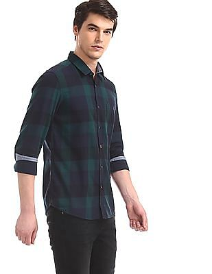 Flying Machine Green Spread Collar Check Shirt