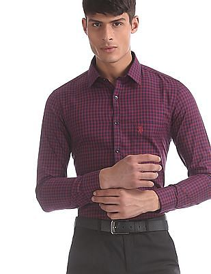 USPA Tailored Red And Blue Slim Fit Check Shirt
